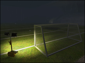 Goal with floodlights next to it