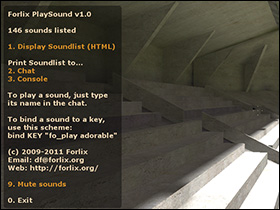 The PlaySound menu as displayed to a player